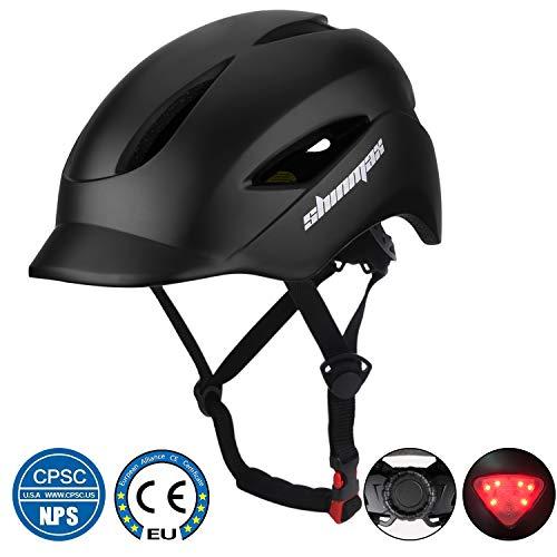 KINGLEAD Fahrradhelm mit LED Licht, Unisex-geschützter Fahrradhelm für Radrennen Skateboardfahren im Freien Sicherheit Superleichter verstellbarer Fahrradhelm mit CE-Zertifikat (SCHWARZ)