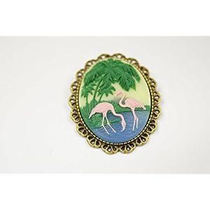 Brosche Ansteckbrosche Flamingo Urlaub Sommer
