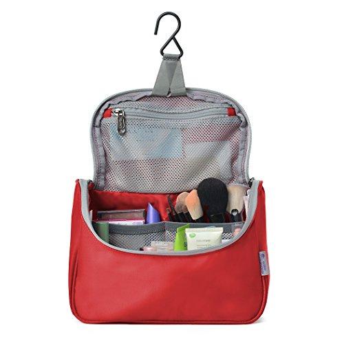 Haken Dusche Rot (Mountaintop Kulturbeutel Kulturtasche zum Aufhängen zum Reise Urlaub, 23.5 x 18 x 6 cm)
