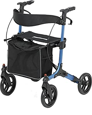 Days 09 155 8576 Pulse 4 Wheel Rollator with Easy Adjustable Lock System and Built In Seat - Blue
