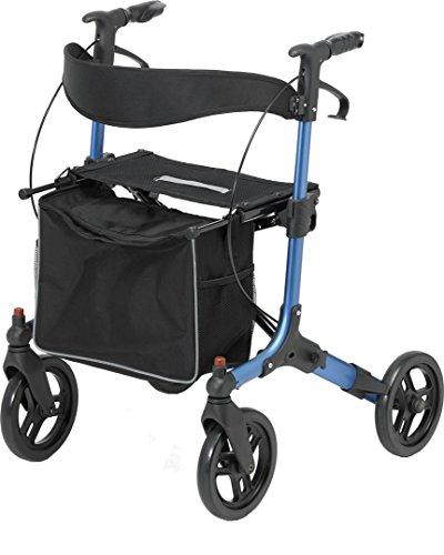Days vierrad Rollator mit Sitz, Rückenlehne und feststellbaren Bremsen, blau