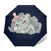 Monster of The Pocket Sleeping Bulbasaur Windproof Compact Auto Open and Close Folding Umbrella,Automatic Foldable Travel Parasol Umbrella