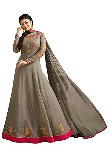 4fashion empire Ayesha Takia Georgette Gray Embroidered Long Anarkali Suit (4Fashion empireER10684_free size_grey)  available at amazon for Rs.1799