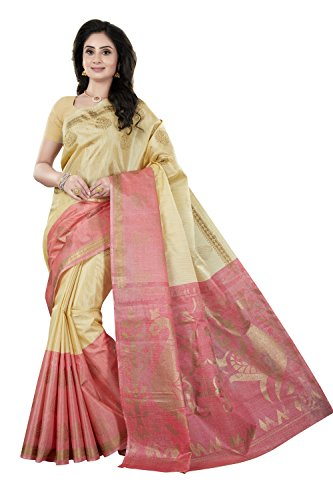 Rani Saahiba Women\'s Art Khadi Silk Printed Saree (SKR4020_Beige - Pink)