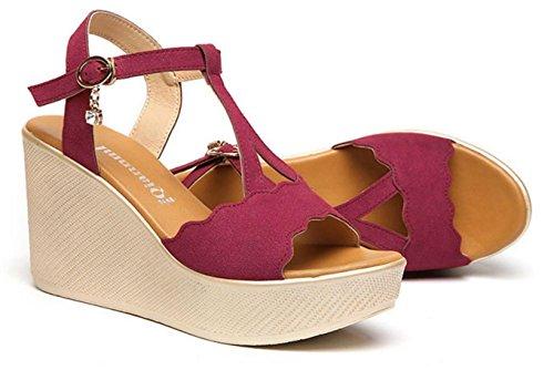 HYLM Sandales de dames, chaussures de mode de dames et des sandales de déclencheurs wine red