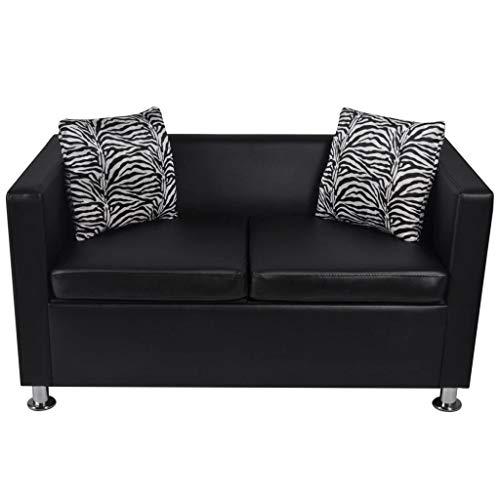 Vislone Sofa 2-Sitzer Wohnzimmer Sofa Kunstleder Büro Bettsofa Lounge Couch 120 x 62,5 x 63 cm Schwarz