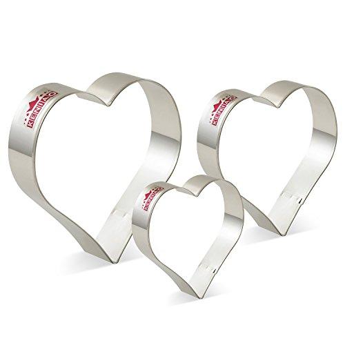 KENIAO Herz Ausstechformen Set Basic Fondant Brot Ausstecher - 3 Verschiedene Größen - Groß/11 cm, Mittel/10 cm und Klein/9 cm - Edelstahl