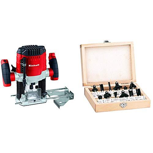 Einhell TC-RO 1155 E Fresadora, 1100 W, 230 V, 7 niveles de fresado, control electrónico + Einhell RT-RO 55 / BT-RO 1200 E  Pack de 12 fresas para madera, 8 mm, color negro