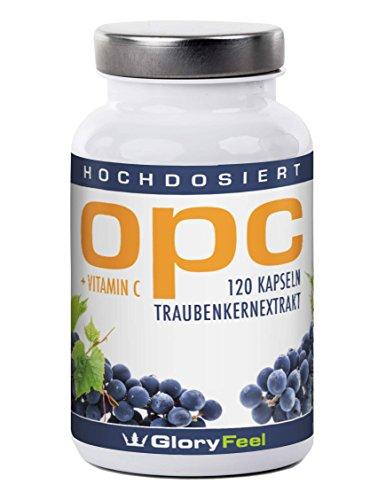 OPC Traubenkernextrakt Kapseln - 120 hochdosierte, vegane OPC Kapseln reines OPC + Vitamin C - 100% natürliches Antioxidans, Premiumqualität Deutscher Herstellung