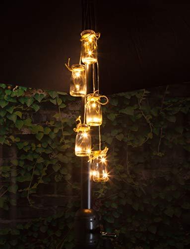 Noma 5Bottiglie per ombrellone Cluster Luce con LED a Luce Bianca Calda, Taglia Unica