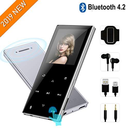 MP3-Player mit Bluetooth 4.2-2019 Neues aktualisiertes Modell,tragbarer MP3-Player,62-Stunden-Wiedergabezeit,Touch-Tasten,integrierter Lautsprecher,8GB-Unterstützung für bis zu 128 GB,Silber (Mp3-player-tasten)