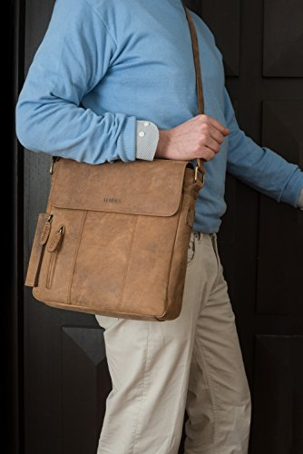 LEABAGS New York borsa a tracolla vintage in vera pelle di bufalo - Marrone Marrone