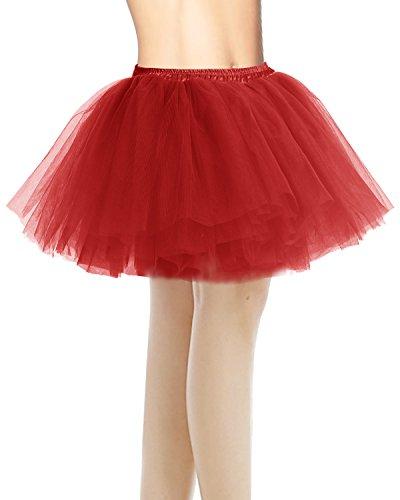 Bridesmay Damenrock Tutu Unterrock Petticoat Rockabilly kurz Tanzkleid Red (Tutu Frauen Für Red)