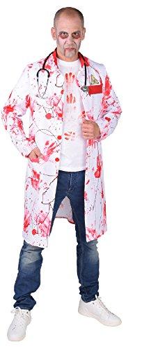 M218258-L weiß-rot Herren blutiger Arzt Kittel-Mantel Dokter Zombie Kostüm Gr.L