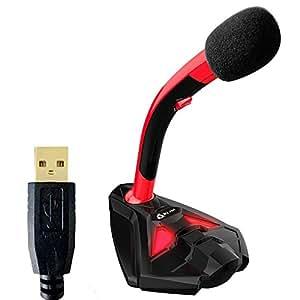 KLIM k20 Voice Microphone à Pied USB pour Ordinateur - Micro de Bureau - Microphone de Gamer PC PS4 (Rouge)