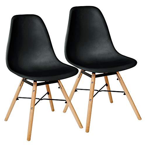 2 Schwarze Stühle (Kingpower 2 Set Stühle Esszimmerstühle Stuhl Sessel Retro Schwarz)