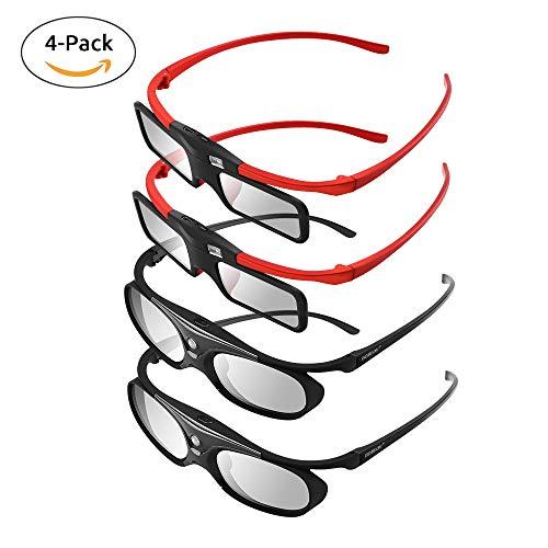 BOBLOV 4 Stücke Familie Active Shutter 3D Brille DLP-Link Kompatibel mit Allen DLP Projektoren Für Eltern und Kinder (Familie Pack) Emitter Link