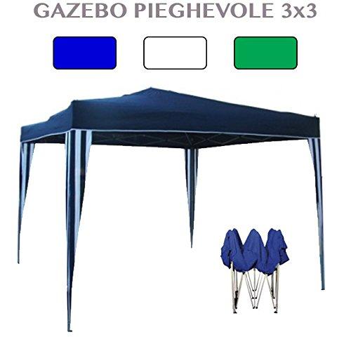 Gazebo richiudibile 3x3 pieghevole a fisarmonica rivestimento in pvc bianco - blu - verde
