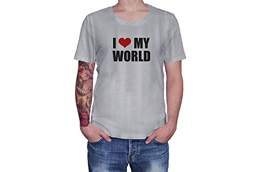I Love My World - Red Heart - Novelty Gift - Custom Adult Unisex Tshirt