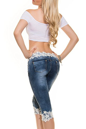Le Donne Si Lace Mosaico Strappato Buco Jeans Stretti Leggings Vitello Lungo I Pantaloni Blue