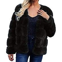 Luckycat Chaqueta de Abrigo de Piel sintética de Las señoras Calientes de Las Mujeres Solid Winter