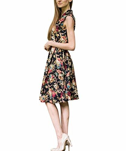 Possec Damen Kleider Vintage Baumwolle Flared Ärmellos Rose Blume Rock Kleid - 2