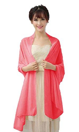 Dresstells, Femme pashmina châle écharpe étole en mousseline polyester printemps/été Corail