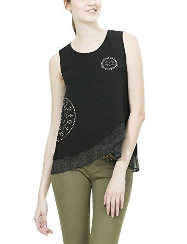 Desigual TS_Grecia, T-Shirt Donna, Nero (Negro 2000), 38 (Taglia Produttore: L)