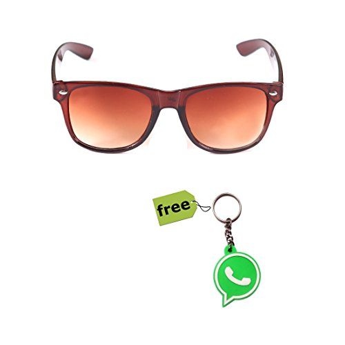 Elligator Trendy Brown Wayfarer Sunglass With Stylish Whatsapp Key Chain Combo (Set Of 2)  available at amazon for Rs.179