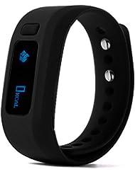XCSOURCE Smart Armband Wasserdichte Sport Gesundheit Fitness Tracker Bluetooth Wristband Schrittzähler Schlafmonitor für Android / IOS Smartphones (schwarz) AC374