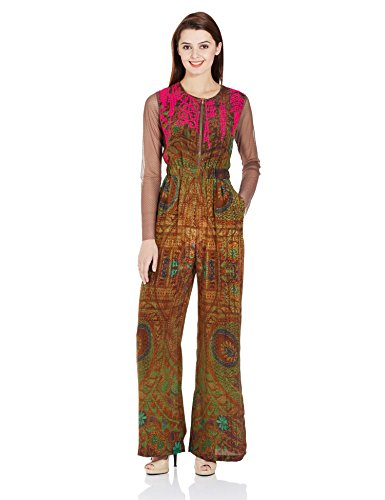 Hemant-Nandita Women's Jumpsuits and Playsuits (HNR- 1561_Brown_L)