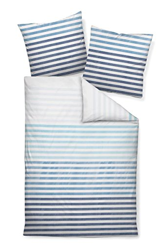 Janine Design Mako-Satin Bettwäsche J.D. 87030-02 Aqua blau 1 Bettbezug 155 x 220 cm + 1 Kissenbezug 80 x 80 cm