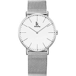 Alienwork IK Quarz Armbanduhr elegant Quarzuhr Uhr modisch Zeitloses Design klassisch Metall weiss silber U04916G-01