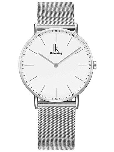 Alienwork IK Reloj Unisex Relojes Hombre Mujer Acero Inoxidable Plata Analógicos Cuarzo Blanco Impermeable Ultra-Delgada