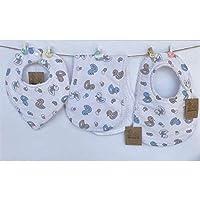 Conjunto de 3 baberos para bebés, pique de canutillo y rizo de toalla 100% algodón.