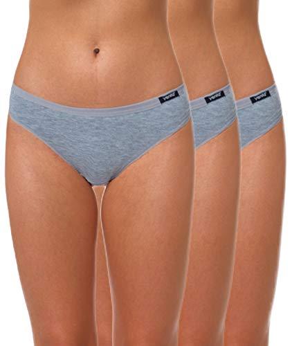 Yenita 3er Set Damen Basic Unterwäsche-Collection, Bikini-Slip, Grau, Gr. L