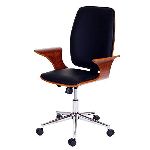 Mendler Bürostuhl HWC-C54, Chefsessel Drehstuhl, Bugholz Kunstleder ~ Walnuss-Optik, Sitzfläche schwarz