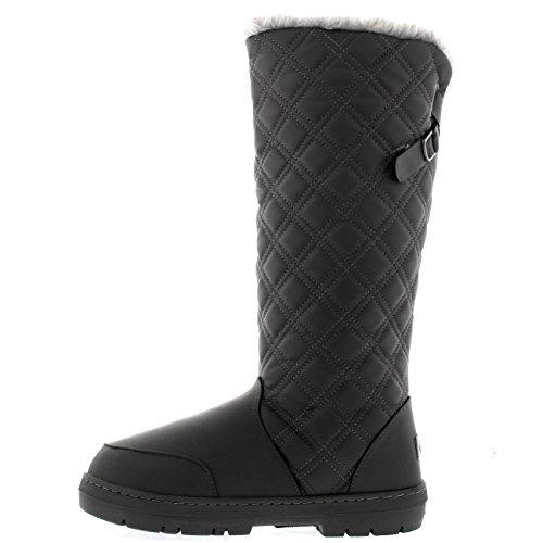 Damen Quilted Twin Strap Back Tall Pelz Gefüttert Schnalle Winter Schnee Regen Stiefel Grau Leder