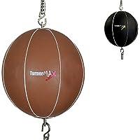 TurnerMAX Pelota de boxeo con fijación doble, correas elásticas, piel marrón natural