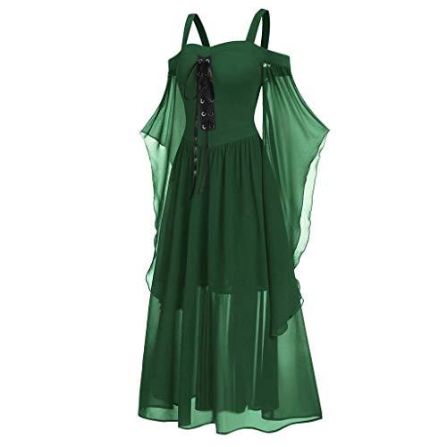 Lazzboy Abendkleider Frauen Plus Größen Kalte Schulter Schmetterlings Hülse Schnüren Sich Oben Halloween Kleid Damen Size Minikleid Lace Halbarm Gothic(Grün,4XL)