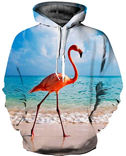 Ocean Plus Herren 3D Mehrfarbig Hoodie Schädel Kapuzenpullover Bunt Wolf Pulli Totenkopf Sweatshirt mit Kaputzen (L/XL (Brustumfang: 114-134CM), Flamingo am Meer)