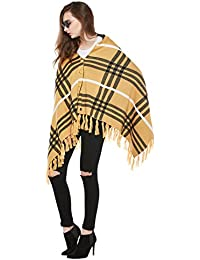 CAYMAN Mustard & Black Reversible Acrylic Wool Poncho Sweater