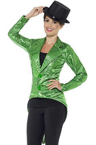 Smiffys Damen Pailletten Frack Jacke, Größe: 40-42, Grün, 43132