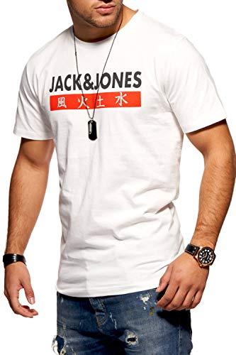 Print T-shirt (JACK & JONES Herren T-Shirt Kurzarmshirt Top Print Shirt Casual Basic O-Neck (X-Large, Cloud Dancer))