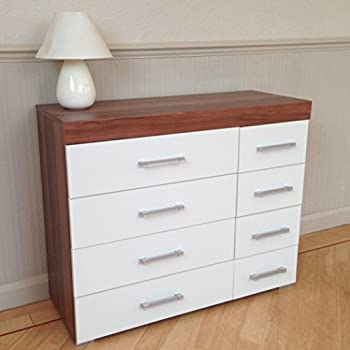 DRP Trading White & Walnut 4+4 Drawer Chest & 3 Draw Bedside Cabinet Bedroom Furniture 8 Draw