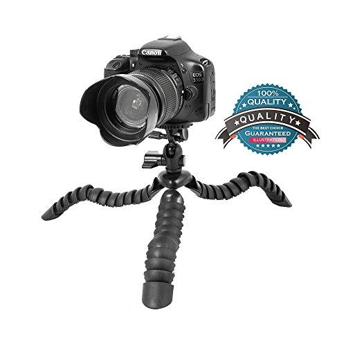 Topfroto 30cm Trípode Flexible Portátil - Adecuado para Canon Nikon Sony Panasonic Réflex Cámara Camcorders de hasta 2,5 kg (Negro)