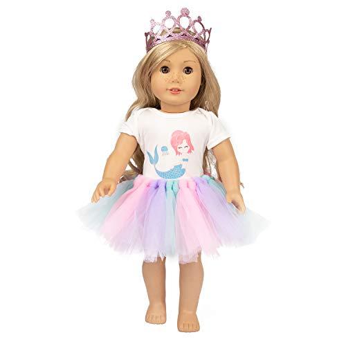 ZITA ELEMENT Puppenkleidung Kleider Tutu Kleider Zubehör Set für 18 Zoll Puppen 1 Krone 1 Bodysuit und 1 Tutu Kleid, 40-46 cm für Baby Puppe und 16-18 Zoll American Dolls (Doll 18 Alexander Zoll)