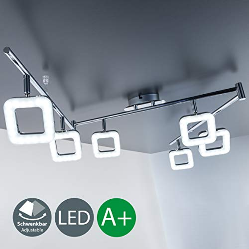 B.K. Licht plafonnier LED, 6 spots orientables, luminaire moderne, éclairage intérieur, lumière blanche chaude, lampe chambre salon couloir, 230V, IP20, 6x4W