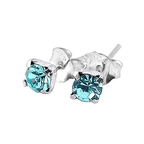 5MM Claw Set Aquamarine Gemstone MARCH Birthstone 925 Sterling Silver Post Earrings