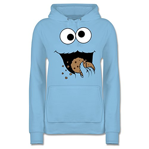 Shirtracer Karneval & Fasching - Keks-Monster - S - Hellblau - JH001F - Damen Hoodie (Baby Outfit Cookie Monster)
